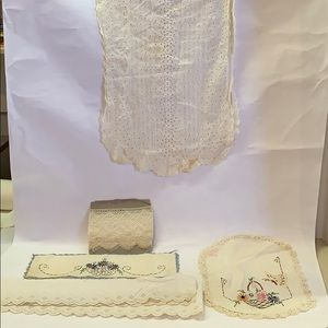 5 Antique Pieces of Lace and Embroidery